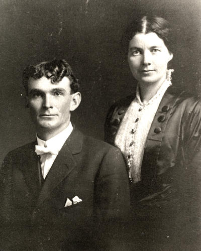 Wedding day portrait of Hugh and (Annie) Mabel Donnelly