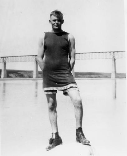 man in bathing suit from 1920s