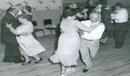 black and white photo of couples dancing