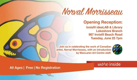 Image of an invitation to the Norval Morrisseau Opening Reception