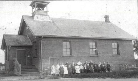 black and white school house
