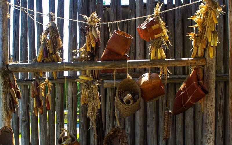 Photo of Corn and Baskets at Sainte Marie Among the Hurons