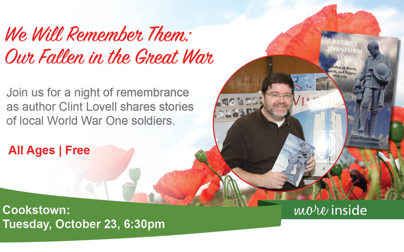Promotional photo featuring an image of Clint Lovell, poppies, and information for an event