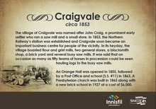 Image of the Craigvale Heritage Plaque created by the Innisfil Heritage Committee